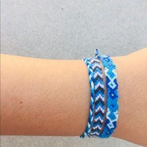 4 blue bracelets